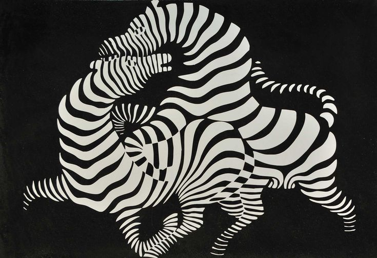 Victor Vasarely (Hungarian-French, Op Art, 1906-1997): Zebra, 1937. Woodcut print, 52 x 60 cm. © This artwork may be protected by copyright. It is posted on the site in accordance with fair use principles.