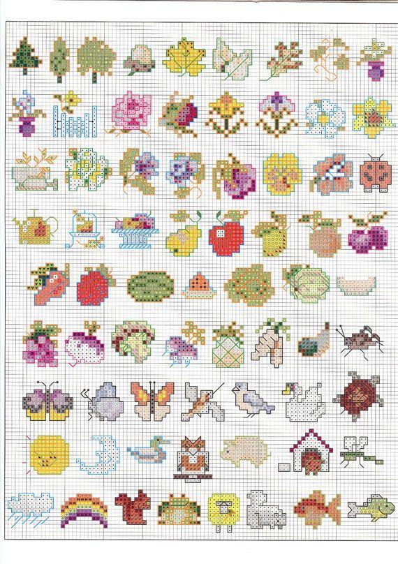 super lief leuk klein! Vintage Cross Stitch 150 Mini Motifs Leaflet 3066 by NookCove