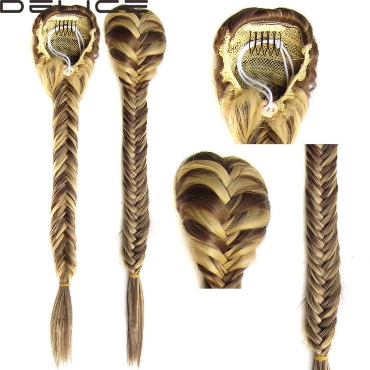"""Clip In Braided Ponytail Elastic Drawstring Rope Fishtail Fishbone Plaited Pony Tail Synthetic Hair Chignon Hairpiece 20"""" 130g ** Click the image to view the details"""