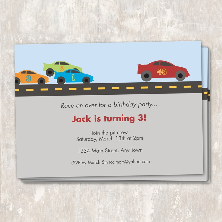wording0th birthday party invitation%0A race car party  Paper  u     Cake printables