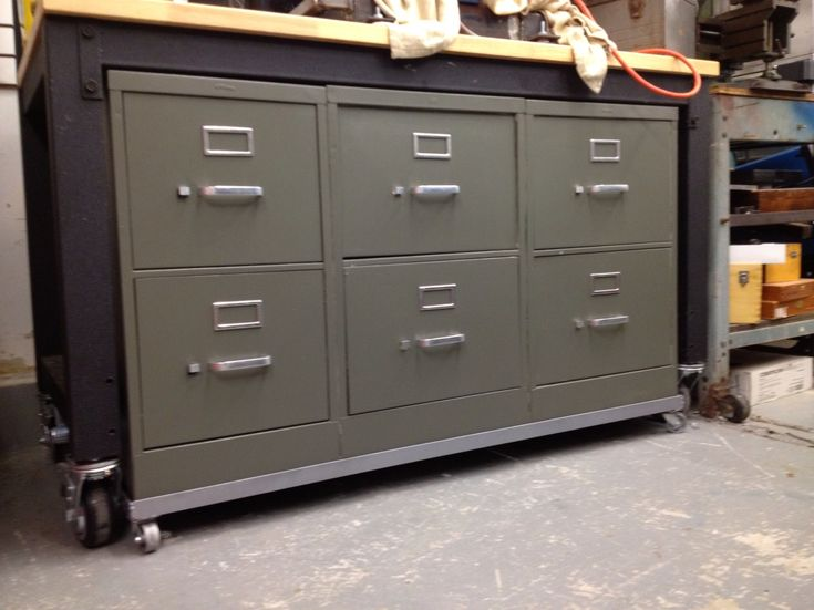 Filing Cabinets Modified Into Tool Cabinet Rolling Work