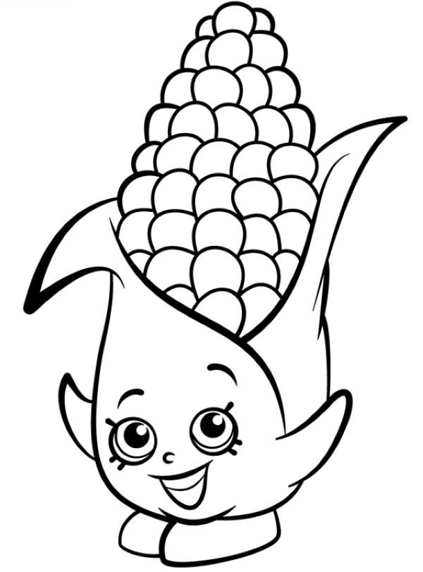 Corn Coloring Pages Printable Shopkins Colouring Pages Shopkin Coloring Pages Vegetable Coloring Pages