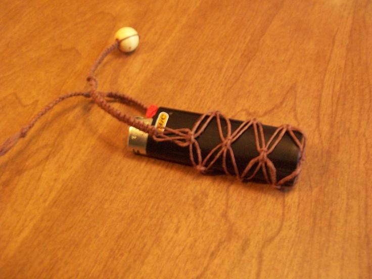 Make for Playa Gifts ~Unique Brown Hemp Lighter Holder Hippie Keychain