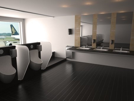 3D rendered airport toilet with TORK sanitary products as 3D BIM objects
