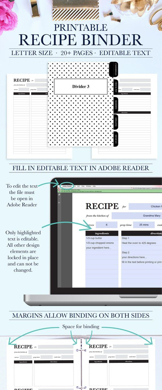Personalized Recipe Book Binder Family Kit Printable Editable DIY Re