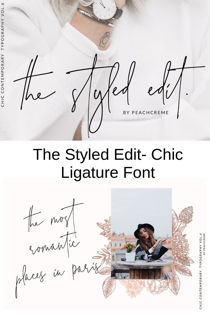 The Styled Edit- Chic Ligature Font | Printable Clip Art and