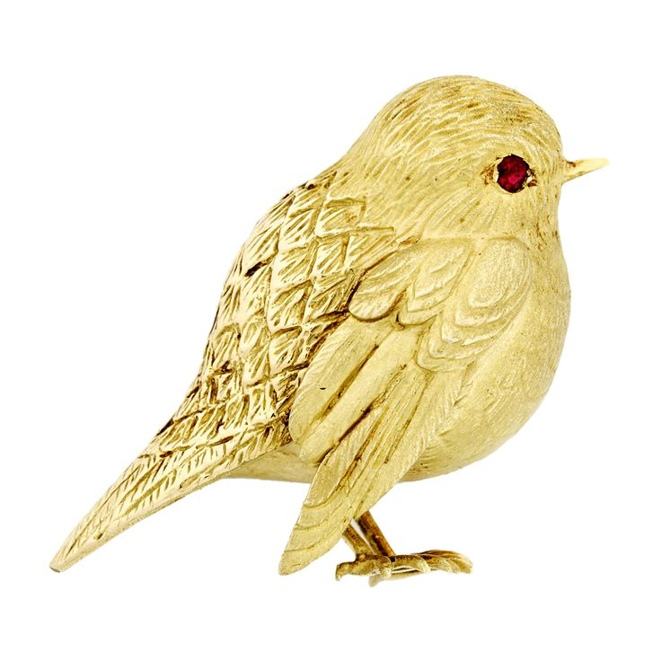1stdibs | Hermès Paris Gold Bird Pin with Ruby Eye-circa 1960's-so sweet