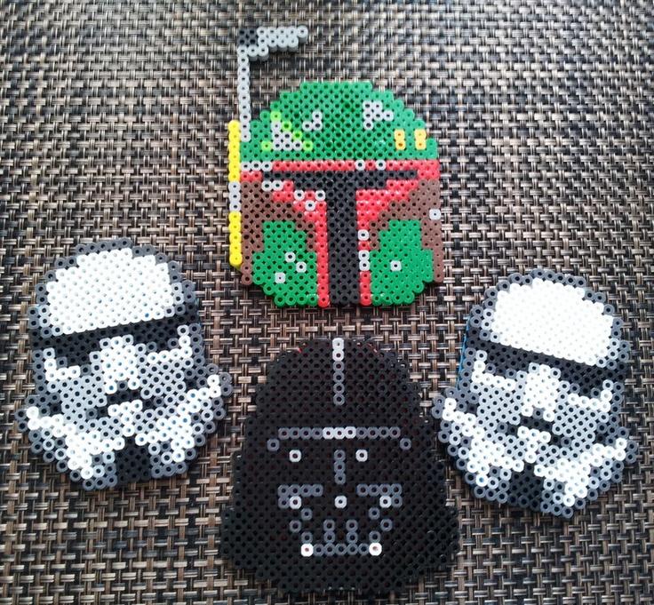 Star Wars Villains Helmet - Perler Beads - Coaster Set now with coaster holder  :). $16.00, via Etsy.