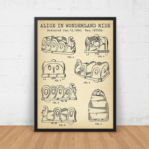 806 best vintage patents images on pinterest print store alice in wonderland ride disneyland amusement by digitalblueprints malvernweather Gallery