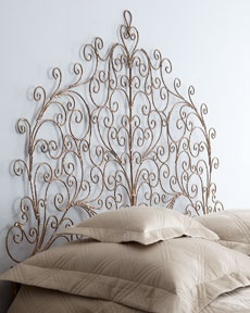 love the headboard bedding needs to be a different color wrought iron