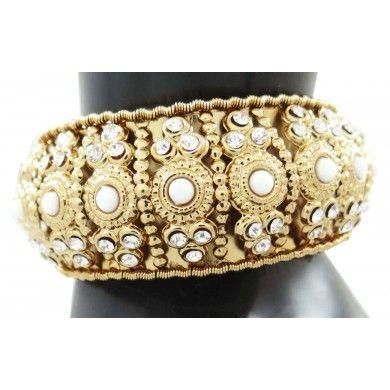 Goldtone Hinged Bangle Set Jewelry Ethnic CZ Stone Braclet/Kada Jewellry Set 2*6