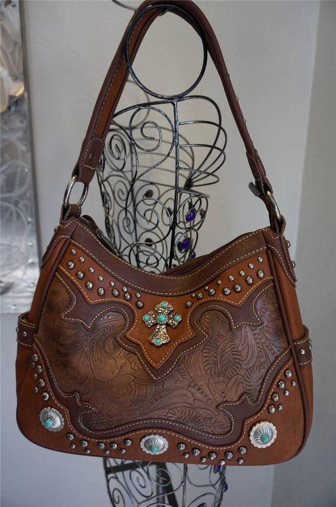 Handbag Quot Montana West Quot Cross Turquoise Studs Flowers Fst