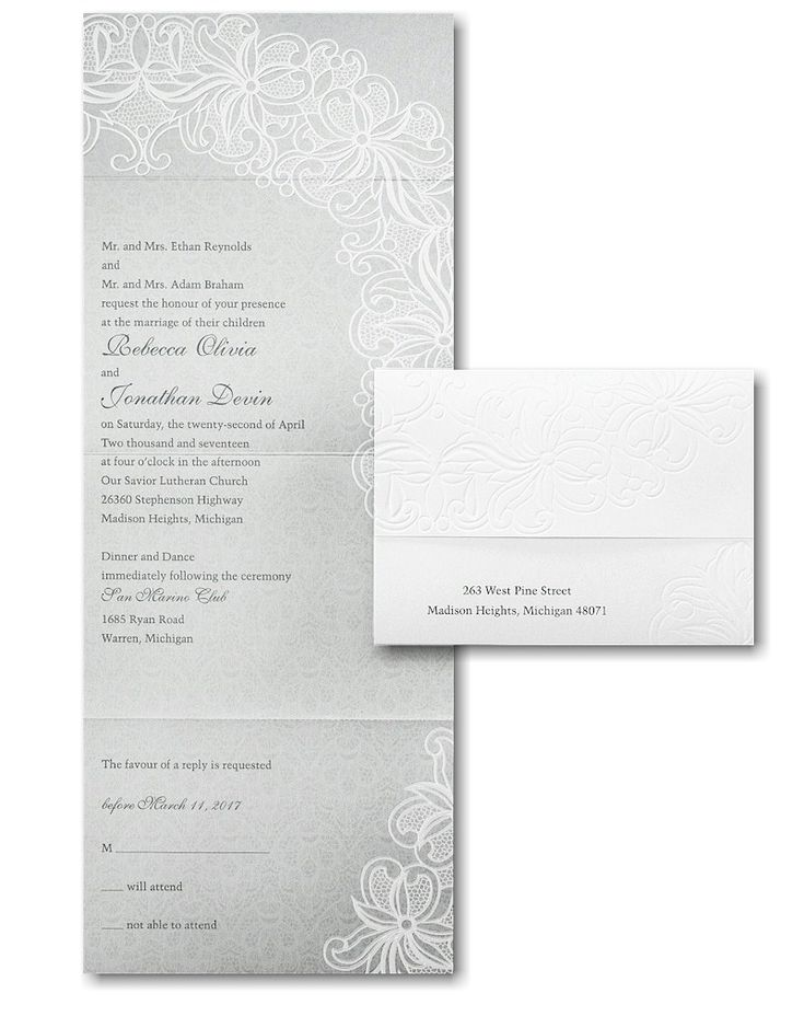 Luxurious Lace Seal N Send Wedding Invitation