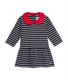 Abito bebé bambina in interlock a righe con collo a contrasto blu Abysse / beige Coquille - Petit Bateau
