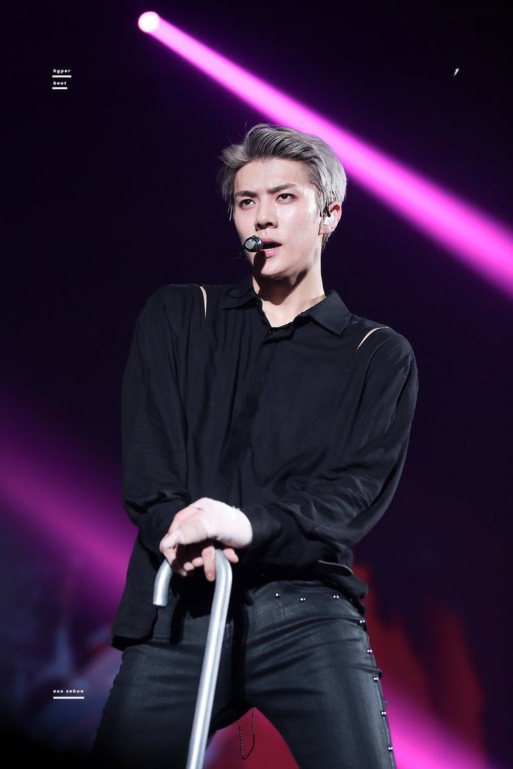 Oh sehun #exo stage #artificial  love #black #neon lights