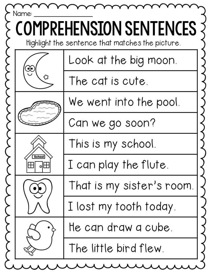 Comprehension Sentences for Kindergarten and First Grade