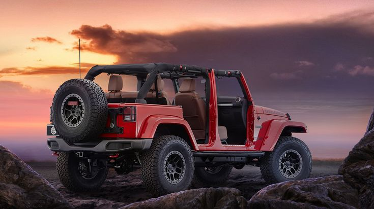 The annual Easter Jeep Safari in Moab, Utah has been a destination for Jeep and all-terrain enthusiasts since 1967. To celebrate the nearly 50 years of being involved in such an event, Jeep has unveiled the Wrangler Red Rock Concept that was built as a collaboration between Jeep and Mopar. The new Wrangler Red Rock Concept was unveiled at SEMA and has numerous custom options such as off road wheels and tires, a special paint, unique graphics, and more. www.wheelhero.com Discount Wheels