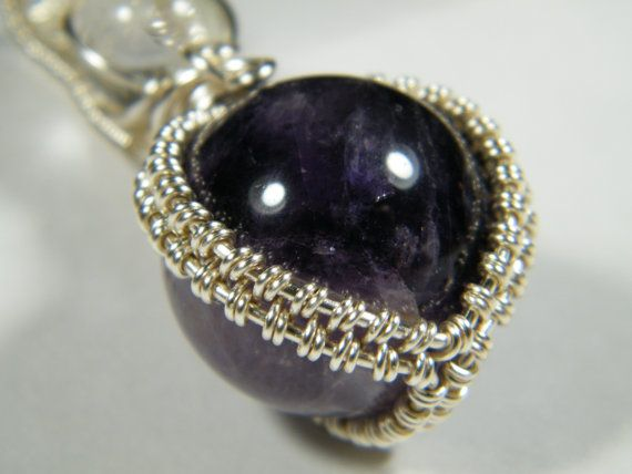 Spheres Woven wire wrapped natural Amethyst by NoStoneLeftUnturned, $31.00