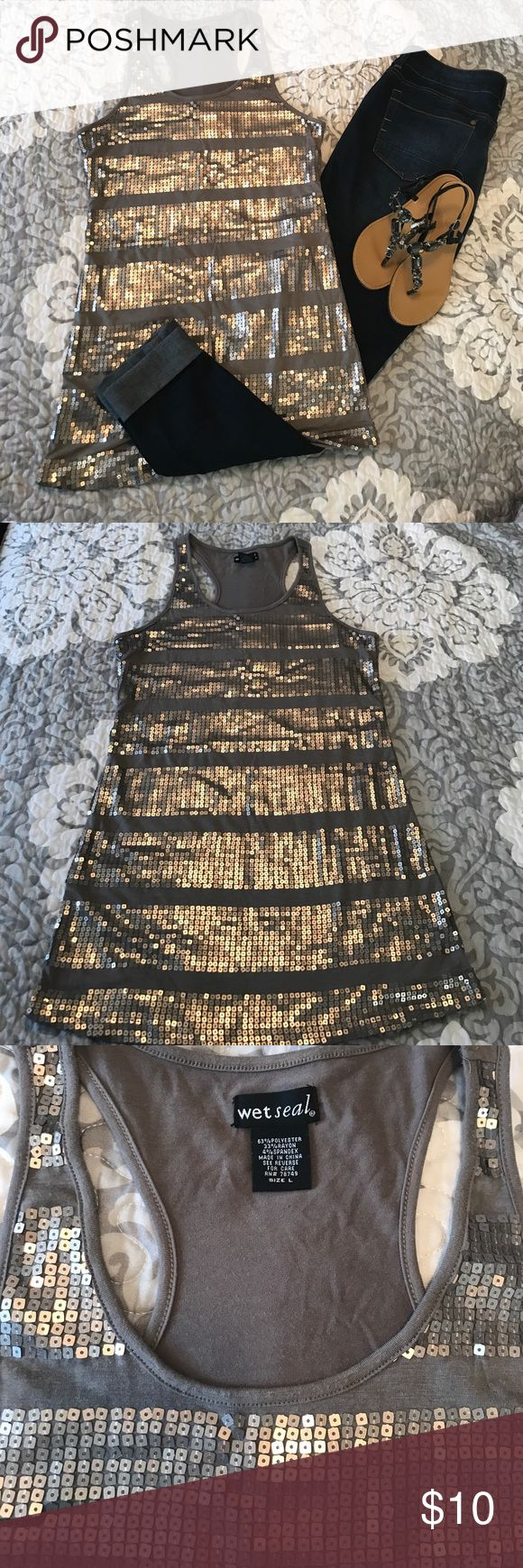 Grey sequined tank top Silver sequin grey tank top. 63%polyester 33%rayon 4%spandex Wet Seal Tops Tank Tops