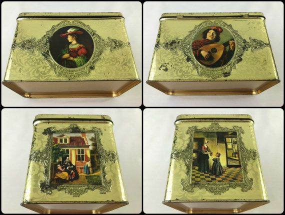 Vintage decorative Dutch tin with hinged lid. 17th Century Dutch Golden Age Painters, Rembrandt, Frans Hals, Gerard Dou and Pieter De Hooch
