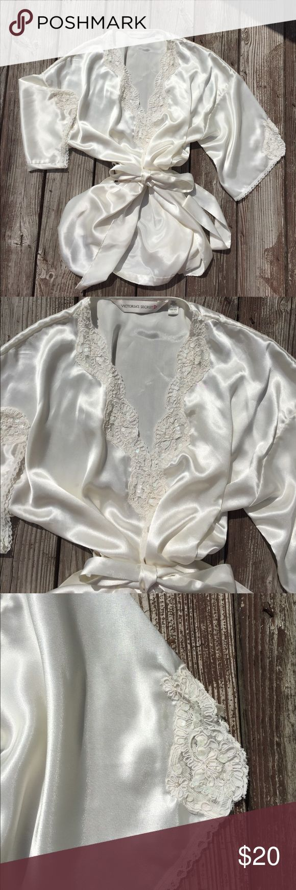 Victoria's Secret lingerie Robe Silky smooth robe with tie. Beads, sequins and lace on front and sleeves. So feminine and sexy! Great for bride or newlywed! Victoria's Secret Intimates & Sleepwear Robes