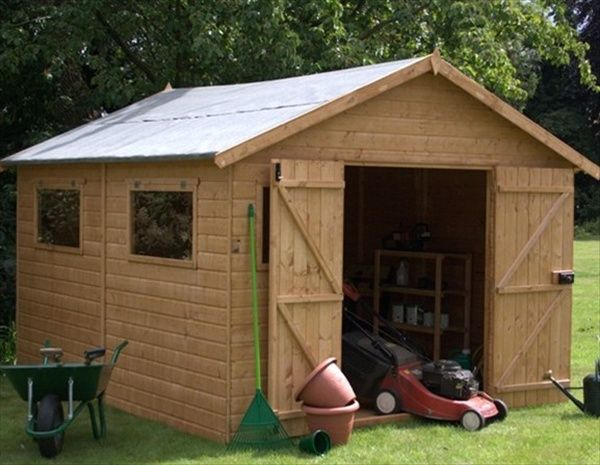 Small Wooden Garage Can Become Very Comfortable Garden Storage Cabin. :)  More Wooden Garages