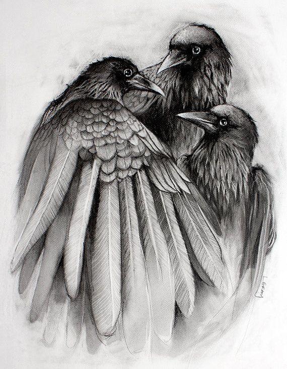 The Gathering - 8 x 10 Corbeau corbeau noir et blanc imprimé de dessin Original