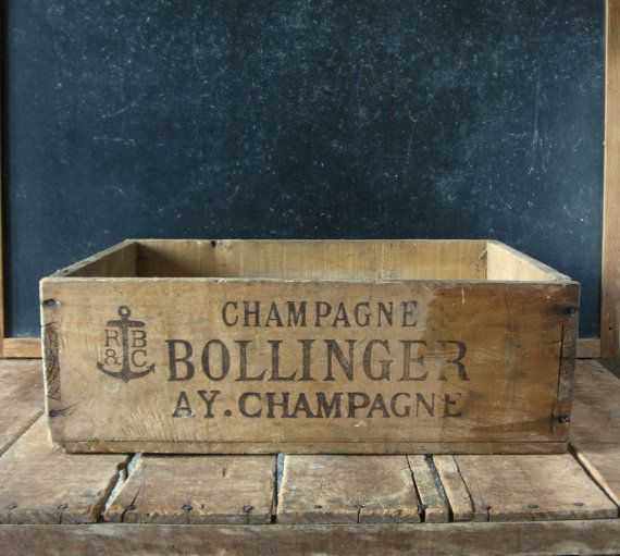 Vintage Champagne Crate, Wooden Bollinger Crate, Brut 1947, S.S. Pierce Company, Boston, Mass., Large Wood Crate with Advertising