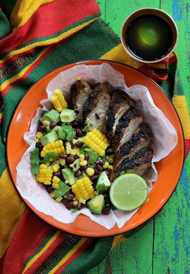 JAMAICAN JERK BBQ PORK WITH CORN, BLACK BEANS AND AVOCADO. Turn up the beats and get the flavours of a Jamaican cook up in no time with this super fun dish. Featuring lean pork loin and a rub made with love, featuring over 10 different herbs and spices. Served with a most colourful, mouth watering salad. A must for BBQ lovers.   30 Minutes. Easy now.