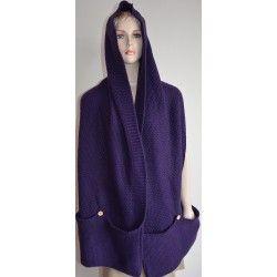 Bershka dámská šála tmavě fialová M; scarf, hood, violet, knitting