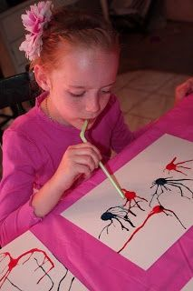 January.. New Year's fireworks! Amy's Craft Bucket: Arts and Craft for Kids: Making fire works with a straw and food coloring!!