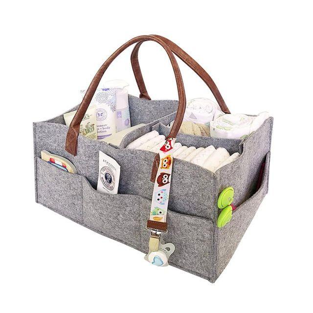 Felt Baby Diaper Caddy Nursery Storage Wipes Bag Nappy Organizer Basket Portable