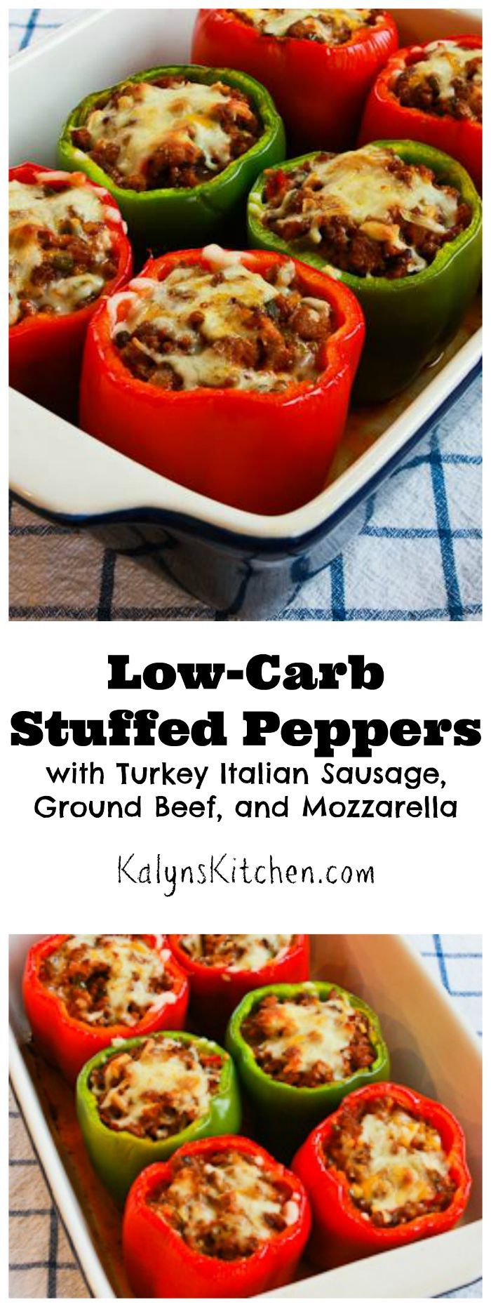 Peppers are great in the fall, and these Low-Carb Stuffed Peppers with Turkey Italian Sausage, Ground Beef, and Mozzarella are easy and delicious. PIN NOW so you can make this when those gorgeous peppers show up! [from KalynsKitchen.com]