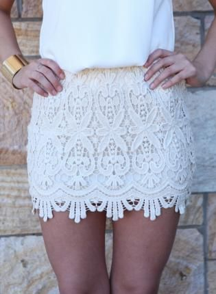 Cream Lace Skirt #crochet