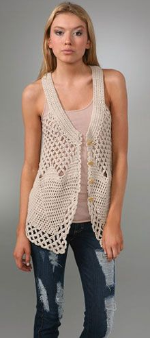 Kylara Crochet Vest    free pattern. Would love this with cap sleeves