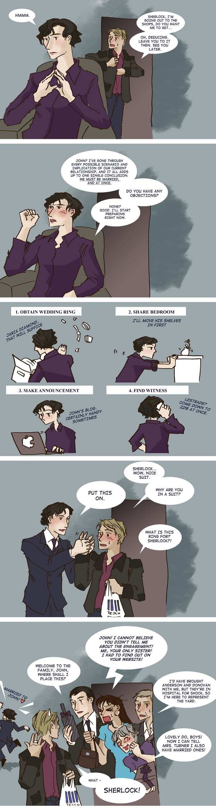 This is hilarious. (It bothers me that the ring is in the wrong finger though.... Sherlock you had one job.)
