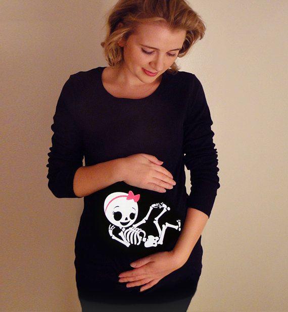 Halloween Skelett Hemd, Halloween-Kostüm-Tshirt, Skelett-Baby-Mädchen Schwangerschaft Mutterschaft Shirt