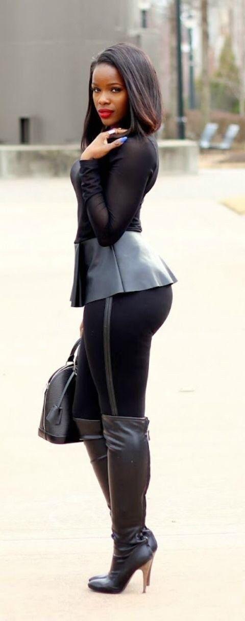 Ebony women wearing boots