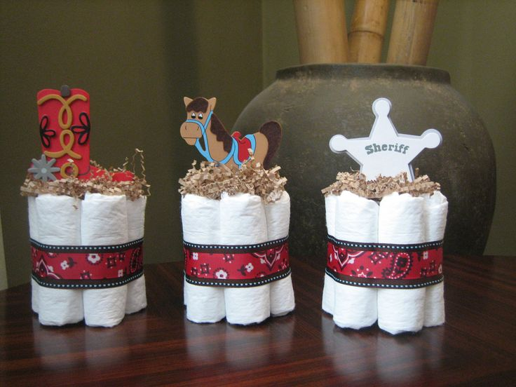THREE LITTLE COWBOY Mini Diaper Cakes for Baby Shower Decoration or New Baby Gift. $25.00, via Etsy.