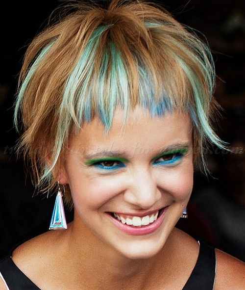 short hairstyle with colored locks