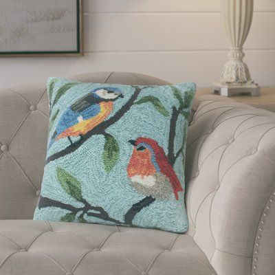 August Grove Ismay Birds On Branches Indoor Outdoor Throw Pillow Throw Pillows Outdoor Throw Pillows Floral Throw Pillows