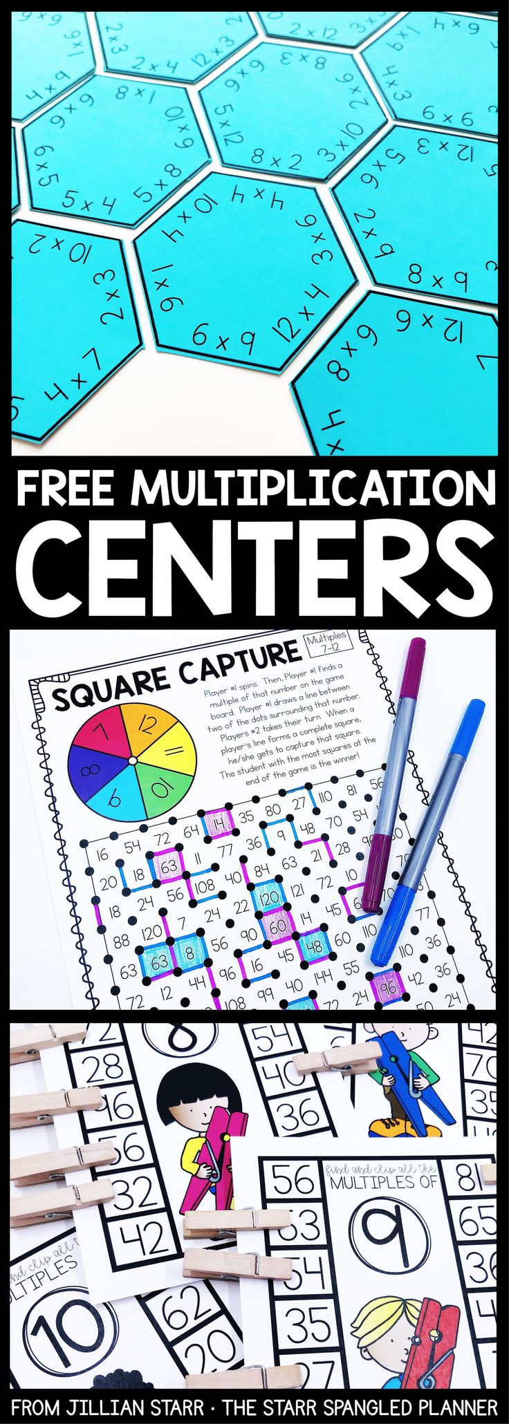 FREE Multiplication Centers to help your students memorize their multiplication facts and build fact fluency. A mix of printable games, logic puzzles, and hands on activities that are perfect for 2nd, 3rd and 4th grade math centers and stations! #mathlessons #mathgamesfor3rdgrade