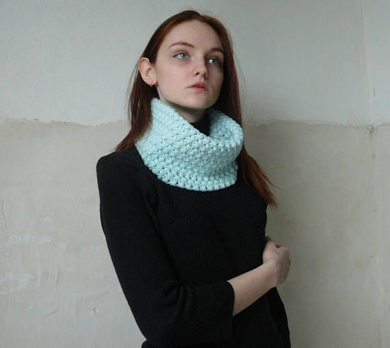 Crochet infinity scarf neckwarmer Mint casual scarf for women #Crochet #infinityscarf #neckwarmer #scarf #casual