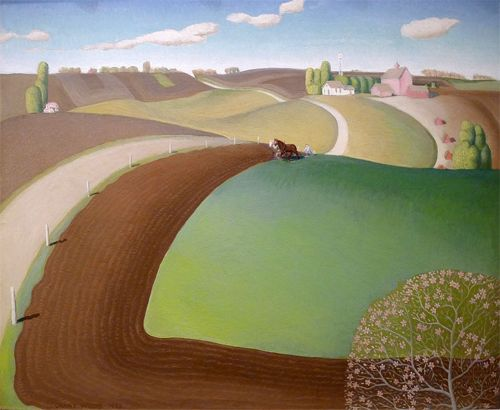 Grant Wood, Spring Plowing, 1932.  I can smell the newly turned earth.  Nothing smells like spring after a long, cold winter.