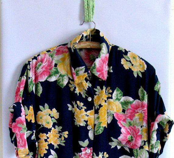 Vintage Blouse /  Blue /Rose Floral Print / 1980s 80s Secretary Shirt / Size Large L XL