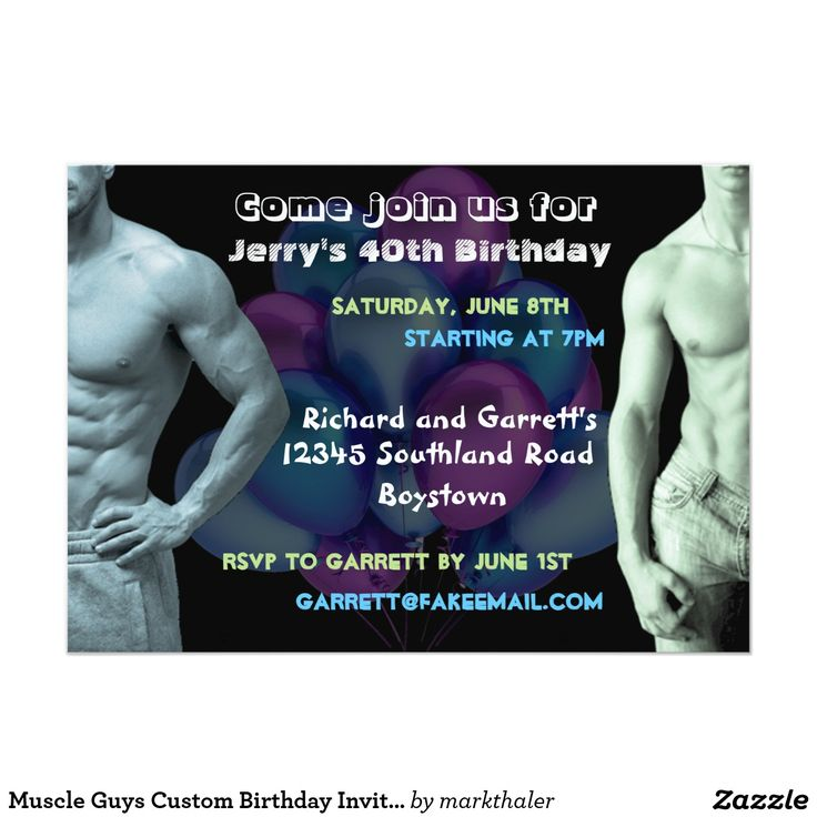 Muscle Guys Custom Birthday Invitation