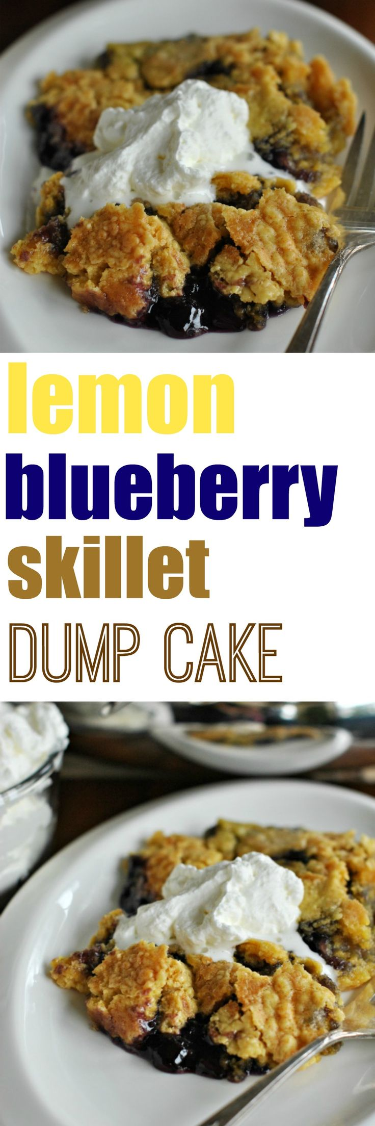 Lemon and Blueberry combined make a delicious Skillet Dump Cake. Serve with almond whipped cream!