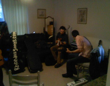 Chris & Josh (bass and guitar) #All #British #Potluck #Band. preparing for Wivenhoe and Mersea Festivals (May 2012) at my place.