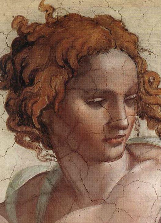 Detalle al fondo del profeta Ezequiel, Miguel Ángel. Capilla Sixtina, Ciudad del Vaticano, Roma