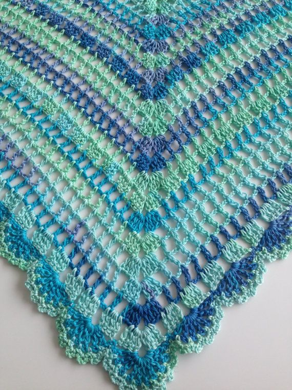 Crochet Spring Shawl Blue Mint Pure Cotton by QueensAccessories